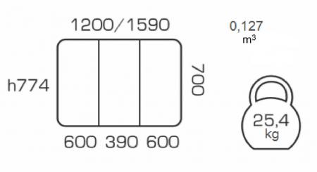 Masa de bucatarie extensibila QUANTAS, 120(160)X70 cm, Beige [3]