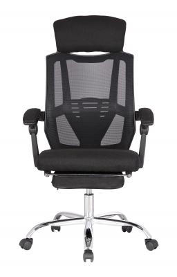 Scaun directorial ergonomic MESHY, Negru, Mesh/Textil cu extensie picioare [1]