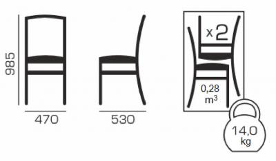 Set 2 scaune Fiona, Lemn, Beige/Regent plain 035