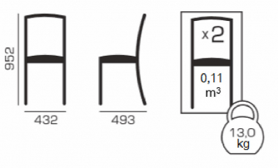Set 2 scaune UNO, Lemn, Nut/Regent 02 [1]