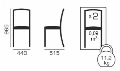 Set 2 scaune Wooden 2, Lemn, Wenge/Veles 145