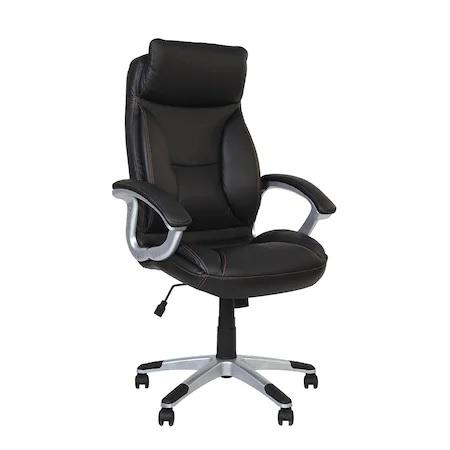 Set 2 scaune directoriale KAVIS, piele naturala, negru [1]
