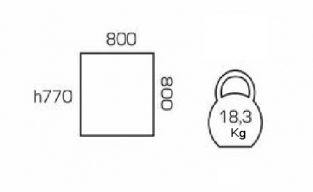 Masa de bucatarie GREMY,800*800 mm, Alb [1]