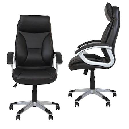 Set 2 scaune directoriale KAVIS, piele naturala, negru [0]