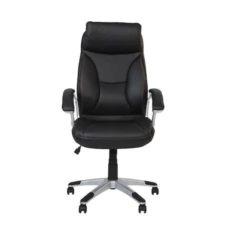 Set 2 scaune directoriale KAVIS, piele naturala, negru [5]