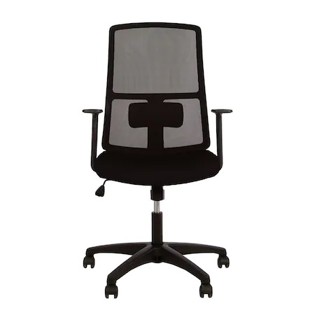 Set 2 scaune de birou MERCAS, cu brate, mesh/textil, negru [2]