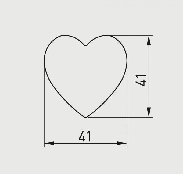 Buton mobila copii HEART 41x41 mm, roz 1