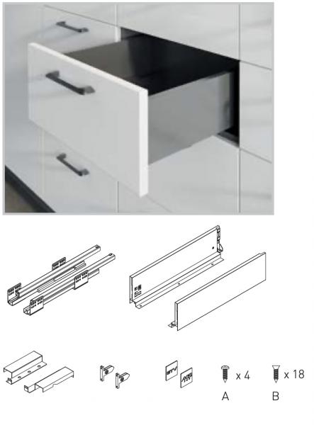 Sertar AxisPro 450 mm, High, Antracit, H167 mm, C 1