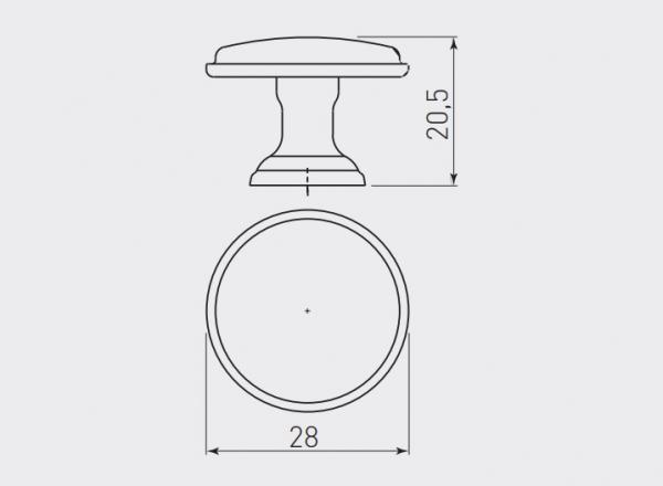 Buton mobila Cento D28 mm, argintiu antichizat 2