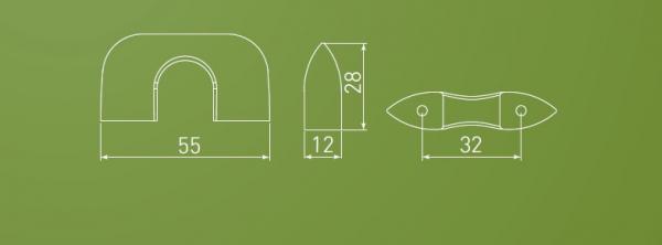 Buton Milan, cromat, 55x28 mm 1