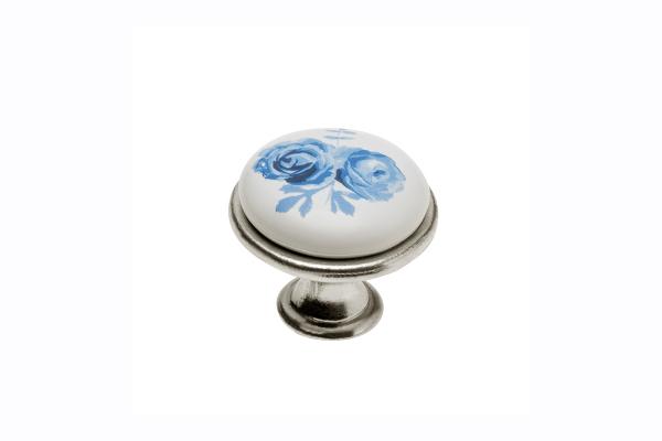 Buton mobila Blue Rose argintiu 0