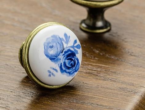 Buton mobila Blue Rose auriu 1