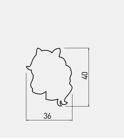 Buton mobila copii - Calut roz 36x40 mm [1]