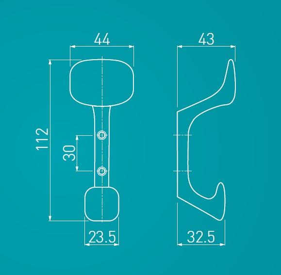 Agatatoare cuier Toledo 44x112 mm, doua agatatori, otel periat 2