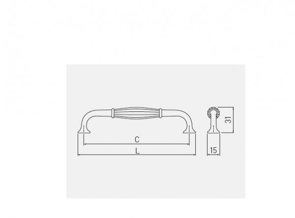 Maner mobila Abiate 128 mm, antichizat 1