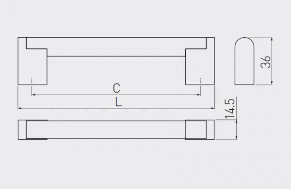 Maner mobila UZ-336 192 mm, otel periat 2