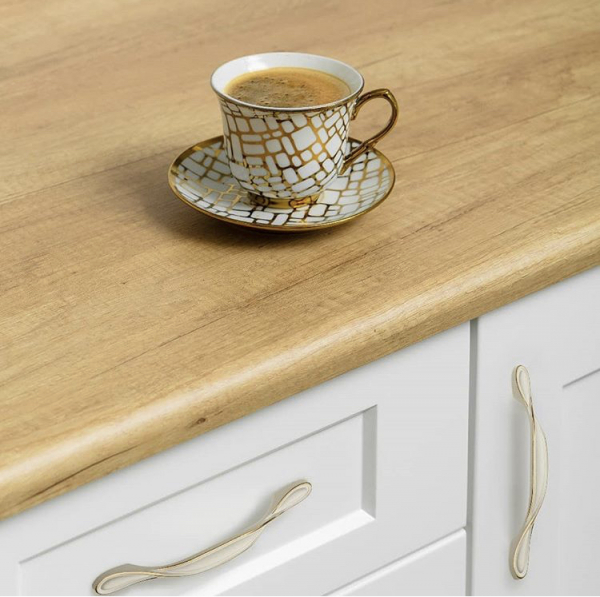 Maner mobila Royal Piano 128 mm, alb auriu [1]