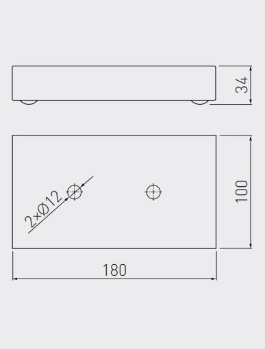 Picior metalic cromat 180x100x34 mm pentru canapea/fotoliu 1