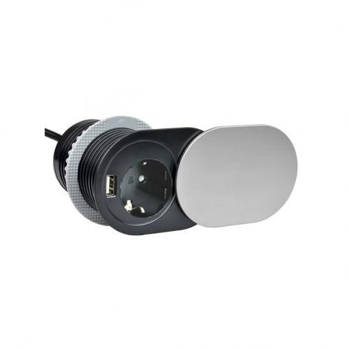 Priza SLIDE incorporabila in blat 1xSCHUKO, 1xUSB 5V 2.4 A, cablu inclus, inox, 60 mm 1