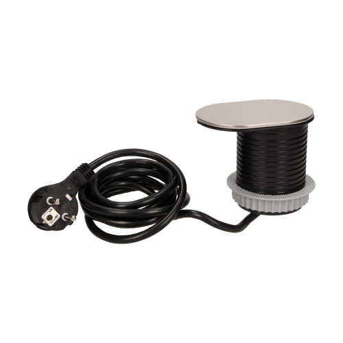 Priza SLIDE incorporabila in blat 1xSCHUKO, 1xUSB 5V 2.4 A, cablu inclus, inox, 60 mm 2