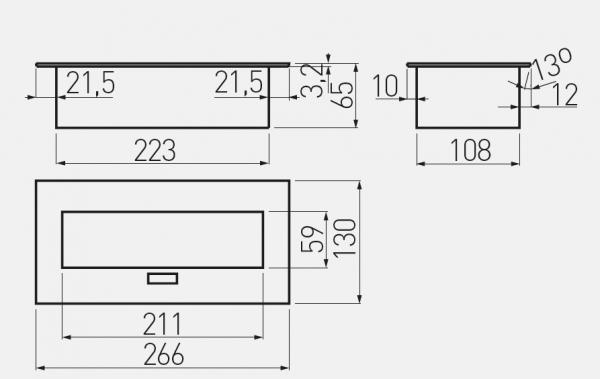Priza blat dreptunghiulara 3 x SCHUKO, aluminiu, cablu inclus 1