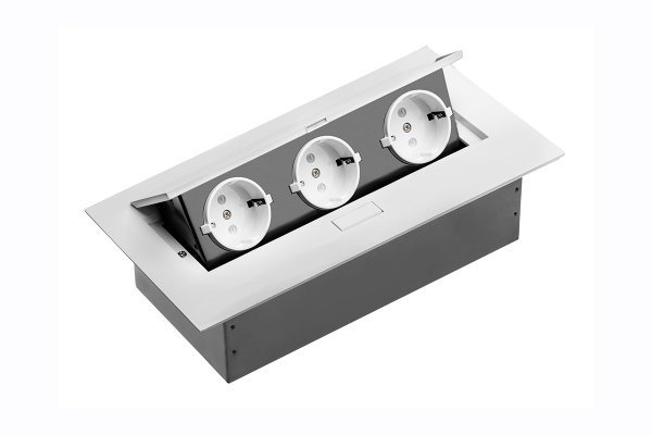 Priza blat dreptunghiulara 3 x SCHUKO, aluminiu, cablu inclus 0