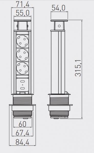 Priza incastrabila rotunda 3xSchuko, 2 USB, argintie, 60 mm 1