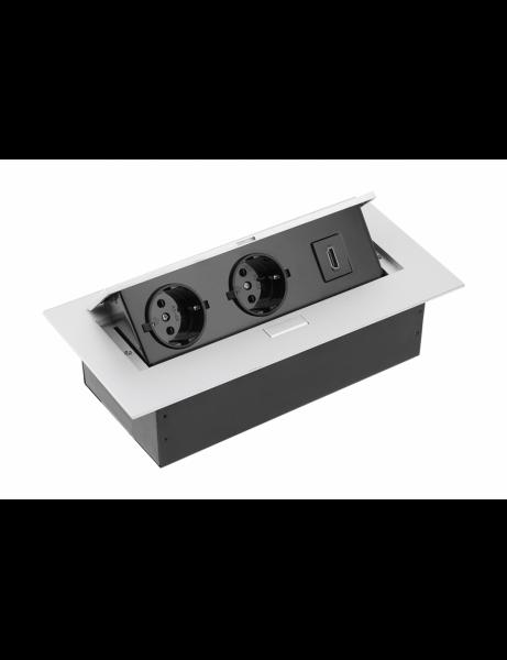 Priza incorporabila in blat, 2 Schuko, HDMI, cablu 1.5 m, Aluminiu 0