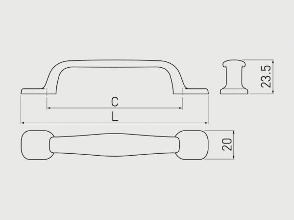 Maner mobila RETRO 96 mm, negru mat [1]