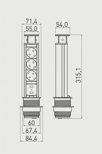 Priza incastrabila rotunda 3xSchuko, 2 USB, negru, 60 mm 1