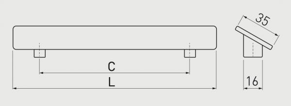 Maner mobila HILL 128 mm, cromat [2]