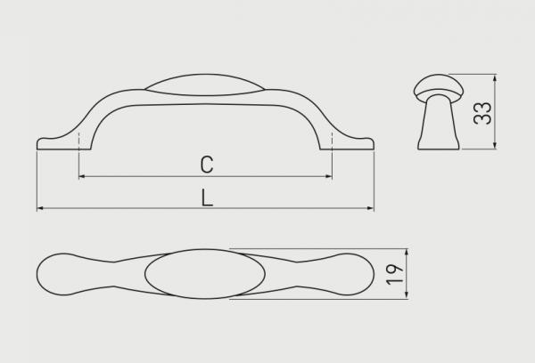 Maner mobila ORNAMENT 96 mm, alama antichizata, tip arcada [1]
