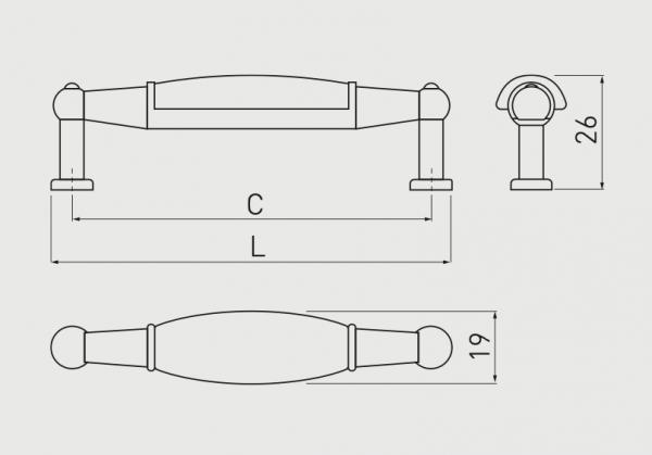 Maner mobila ORNAMENT 96 mm, alama antichizata, dreptunghiular 1
