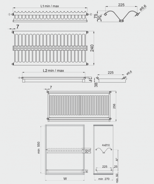 Scurgator (picurator) vase, inox, doua rafturi, corp mobilier 600 mm 1
