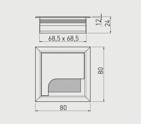 Trecere cabluri MERIDA 80x80 mm, negru mat [2]