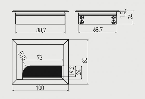 Trecere cabluri MERIDA 80x100 mm, Negru 1