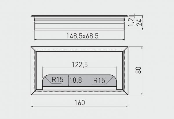 Trecere cabluri MERIDA 80x160 mm, aluminiu [2]