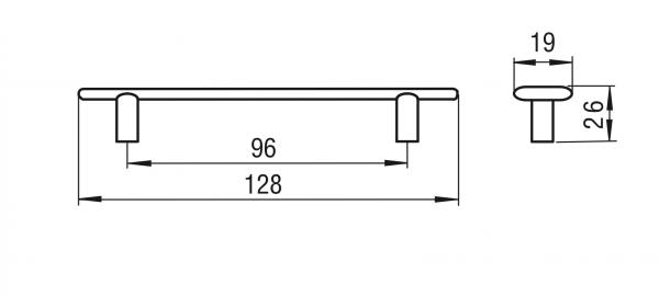 Maner mobila FURCULITA 96 mm, alama antichizata, 1051-128 1