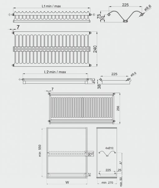 Scurgator (picurator) vase, inox, doua rafturi, corp mobilier 700 mm 1