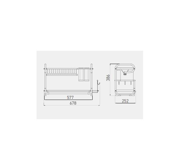Scurgator (picurator) vase Inox pentru blat 678 mm 1