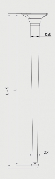 Set 4 picioare masa, gama X-Line, ajustabile, H 710 mm, Crom 3
