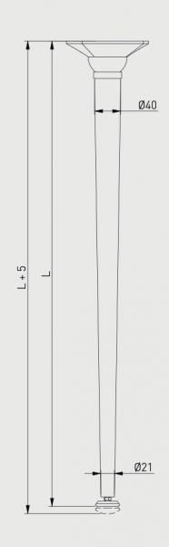 Set 4 picioare pentru birou, gama X-Line, ajustabile, H 820 mm, Negru Mat [3]