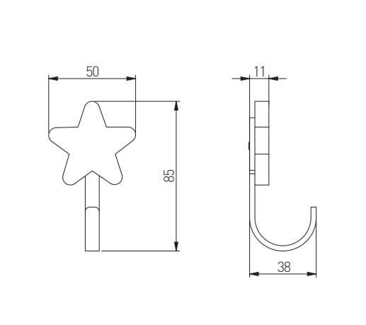 Agatatoare cuier copii STAR 50x85 mm, roz [1]