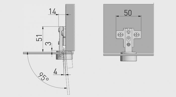 Balama aplicata pentru usa din sticla, deschidere 95°, capac cromat [1]