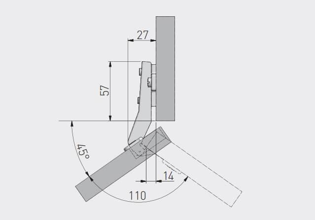 Balama unghi 45°, placuta de montaj inclusa [1]