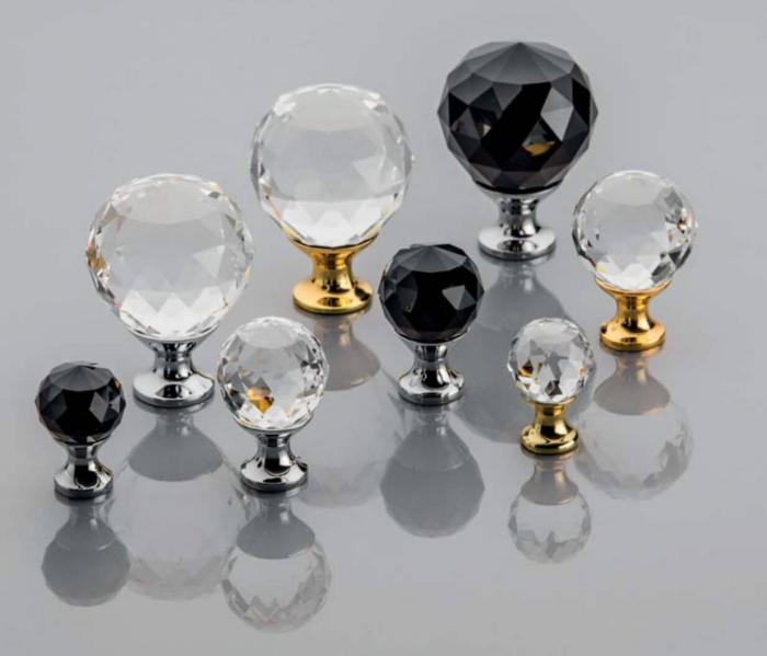 Buton mobila Crystal Palace 30x44 mm, negru 1