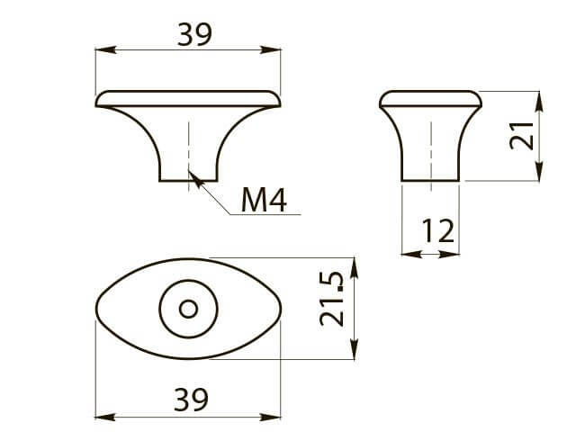 Buton mobila  GZ-1148 39x21 mm, alama antichizata [2]