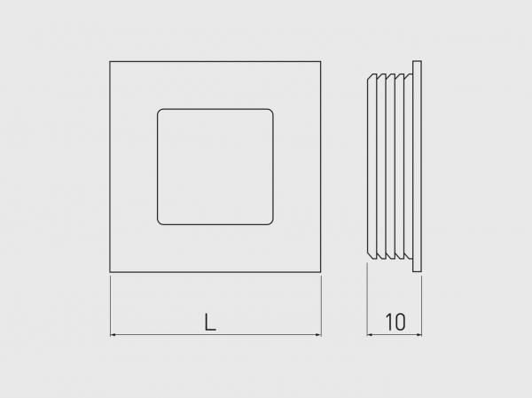 Buton mobila ingropat B226, 40x40 mm, negru mat 1