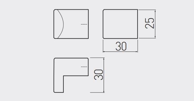 Buton mobila ARES 30x25 mm, negru mat [3]