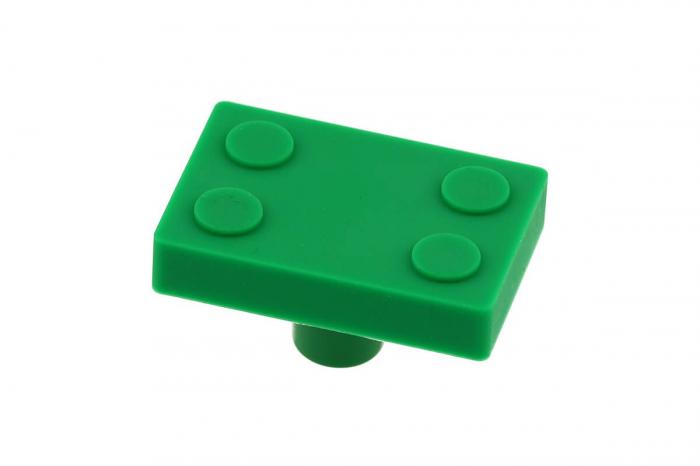 Buton mobila copii BLOCK 45x30 mm, verde [0]